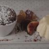 Haselnuss-Schokoladen-Soufflé, Parfait vom Federweißen, Muskateller-Trauben-Gelee