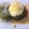 Rücken vom Angel-Kabeljau mit dreierlei Senfcrème, Blattspinat und Stampfkartoffeln