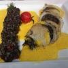 Calamaris mit Sepia-Risotto