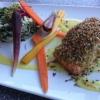 Lachs, Karotten, Spinatrisotto