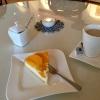 Käsekuchen mit Pfirsich, Pott Kaffee