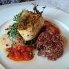 Schwertfisch, Naturreis, Blattspinat, Tomatensalsa