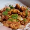 Scheiben vom Apfelschwein, Gnocchi , Chimichurri und Kimchi
