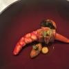 Rote Garnele & geschmorter Schweinebauch, Sauce Mechouia, fermentierte Karotten, Koriander & Ingwer