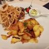 """Rumpsteak """"Zwiebel"""" mit gerösteten Zwiebeln und Bratkartoffeln"""