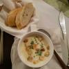 Käsesuppe mit Schinkenstreifen und Lauch mit Baguettestreifen für 3,50 €