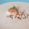 Topinambursuppe mit Pilzen und Muschel