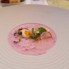 Foto zu 1687 Restaurant & Café: Kalte Suppe für heiße Tage: Rote Bete, Rettich, Wachtelei, Joghurt