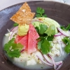 Ceviche vom Kabeljau / Wassermelone / Koriander / Chili / Limone / Avocado