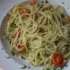 Spaghetti mit Bärlauchpesto und Pinienkernen