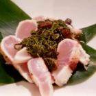 Foto zu Sushi Glas: Weißfisch? geflämmt mit Pesto aus Grüntee