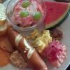 Quark, Obst - Frikadelle - Ei und Bacon  - Lachs - Melone