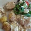 Schweinefilet, Fisch, Kartoffelgratin, Salat