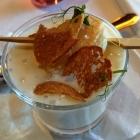 Foto zu Fischrestaurant Blinkfür: 13.05.18: aromatisches Spargelschaumsüppchen mit gebratener Jakobsmuschel