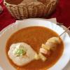 Curry-Kokossuppe mit Garnelenspießchen
