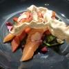 In Sternanis gebeizter Lachs, eingelegte Wintergemüse & Buchweizen-Chips