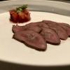 Carpaccio von rosa gegartem Rehrücken mit Apfel-Preiselbeer Chutney