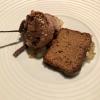 Birne mit Lebkuchenbiskuit, Schokoladenmousse und Gewürzbrot