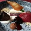 Brownie / Milchreis / Zartbitterschokoladencreme / Haselnüsse / hausgemachtes Kirschsorbet / eingelegte Kirschen