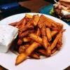 Süßkartoffel Beiwerk mit selbst gemachtem Dip