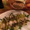 gegrillten Peperoni mit hausgemachter Knoblauchsauce und Brot (4,90€)