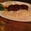 Feuerspieß vom Schwein mit scharfer Paprikasauce und Reis ( 10,90 €
