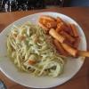Mittagspasta Teil 2: hier mit Linguine in Kartoffel-Sahne-Sauce und den würzigen Rigatoni