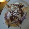 Pfannkuchen mit Heidelbeer-Mascarpone und Nougat-Sauce