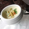 Spargelcremesuppe mit Croutons
