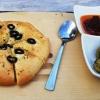 Focaccia, Pesto, Oliven