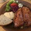 Krustenbraten mit Sauerkraut, Salat  und Brot (9,90€)