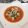Teil des Mittagstischs: Tomatencremesuppe