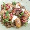 Gebratener Pulpo, Linsen, Kartoffeln
