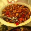 Hähnchenbrust mit Erdnüssen in scharfer Soße
