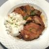Ente kross gebacken mit scharfer Knoblauchsoße