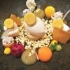 Kokos-Yuzu Sorbet - mit Multivitaminfrüchten in Textur -