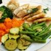 Zander und Gemüse