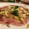 Carparccio vom Kalb mit Calamaretti, in Curry geröstet