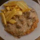 Foto zu Zum Bembelsche: Tagesmenü, Schnitzel vom Wutzje mit Soße nach Wahl u. Pommes,  Salat und Dessert des Tages zu 7,90€