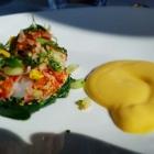 Foto zu Jacobs Restaurant  · Hotel Louis C Jacob: Hummer mit Curry-Hollandaise