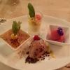 """Dessertvariation """"Malteser Komturei"""", Crème brûlée von der Tahiti-Vanille, Himbeersorbet, Schokomousse Valrhona und Maracujaschaum"""