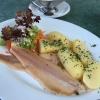 Forellenfilet mit Salzkartoffeln und Meerrettichsahne(11,90 €)