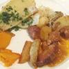 Kassler, Kürbis, Kartoffeln, Sauerkraut