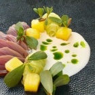 """Foto zu Elements · Restaurant: Sashimi vom """"kleinen Thunfisch"""", Wassermelone, Gurke, Buttermilch"""