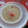Kartoffel-Lauch-Crème-Süppchen mit hausgeräuchertem Lachs