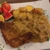 Schnitzel mit Pfiffeling-Sahnesoße