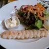 Marinierter Garnelenspieß vom Grill (???)  mit Knoblauch-Mayonnaise