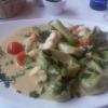 Pasta mit grünem Spargel und Seeteufel