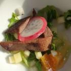 Foto zu Mahn's Château: Leber vom Wollschwein, Kandierte Orange, Birne-Rauke-Salat