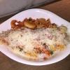 Pasta Gamberetti-Mit Campanelle, Garnelen, Lauchzwiebeln und Kirschtomaten in Tomatensauce